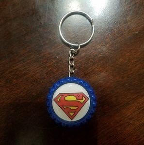 Superman Bottle Cap Keychain